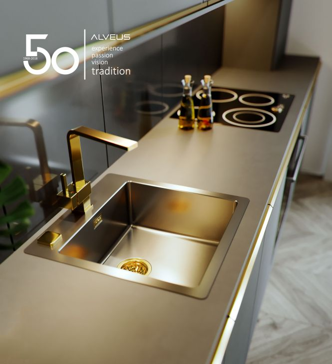 Kitchen sinks Alveus of various shapes, dimensions and materials
