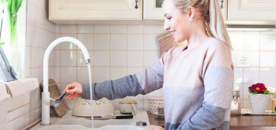 Alveus pomivalno korito in pipa tudi v Anini kuhinji, ki vedno diši po dobrotah